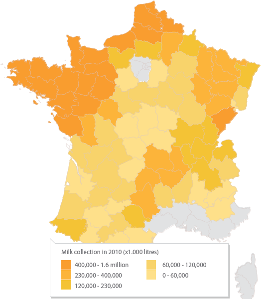 Carte de la collecte de lait en France