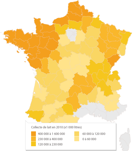Carte de la collecte en France en 2010