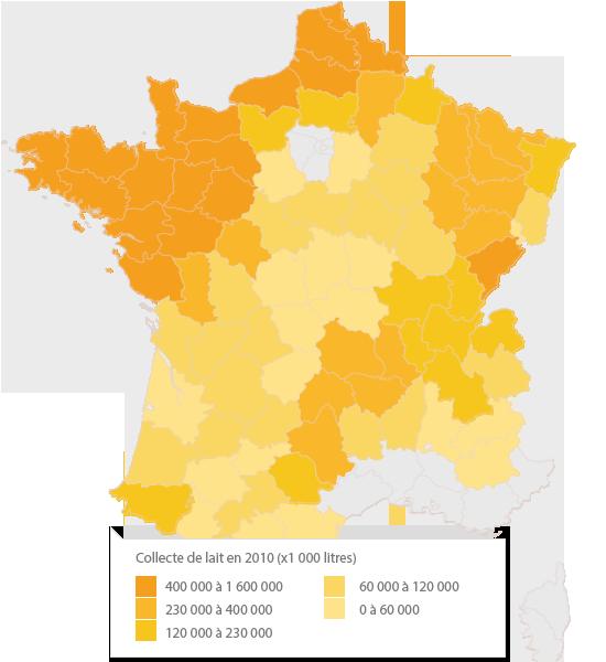 Carte de la collecte en France en 2010