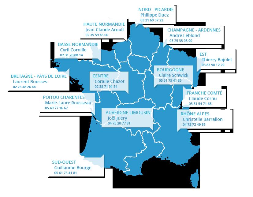 carte des correspondants régionaux de la Fnpl