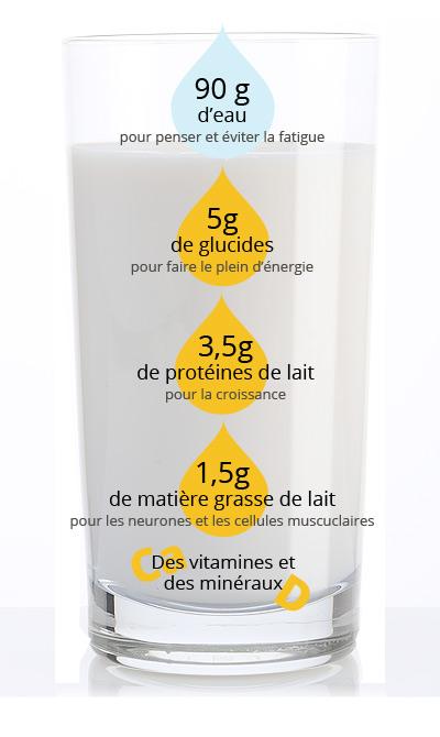 Composition d'un verre de lait 100mL