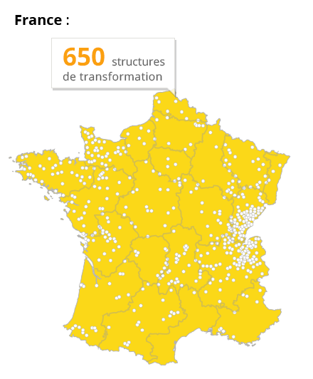 650 site de transformation en France